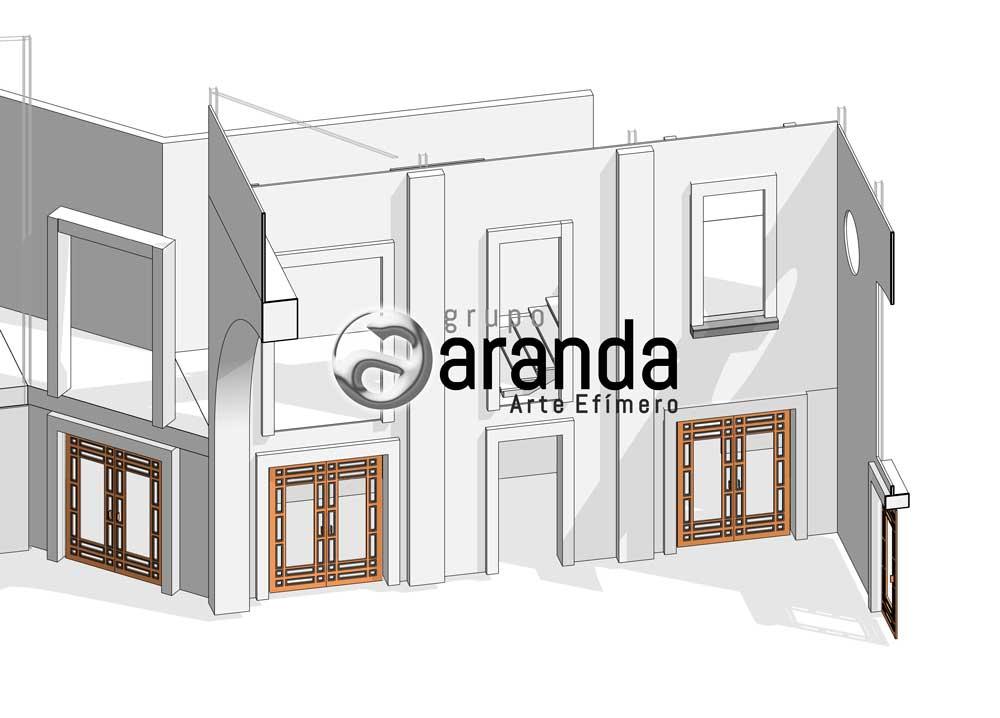 Construcción de Decorados para La Casa de Papel. Boceto edificio